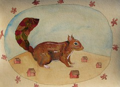 The Autumn Squirrel Leaves The Quiet Village (Fauna Finds Flora) Tags: squirrel leaf animal mammal leaves fall autumn pressedleaves pressedleaf pressedplant flower pressed rodent cute red orange blue tea frame whimsical story strange nature art illustration faunafindsflora
