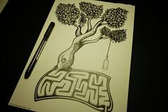 Sketch 012 (Sellanes Sketch Journal) Tags: sketch drawing artwork art gallery museum ink inkart tree labyrinth bottle dibujo tinta sellanes leaves leaf