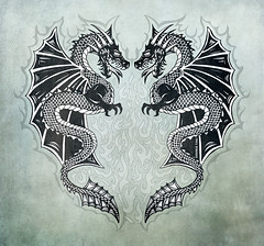 Tribal Twin Dragons Art by Sherrie Thai (shaire productions) Tags: twindragons dualdragons dragons dragonwings serpent mythology tribaldragons tribalart dragondesign graphics artwork image illustration picture photo photograph drawing creation apparel dragonart creature blackwork tattooart graphic design asian oriental japanese style stylish creative