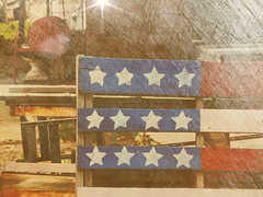Patriotic Pallet (clarkcg photography) Tags: pallet red white blue patriotic wood chair metal saturated modification manipulated textured muskogee alley back shop oklahoma stars painted light starburst