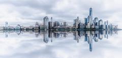 In Rhythm (Vladimir Grablev) Tags: view usa landscape cloudy reflection buildings manhatten apple daytime summer architecture water towers travel skyscrapers scenic panorama hudson ripple big skyline wide newyork unitedstates us