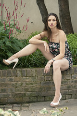 Natalia (JonMad) Tags: natalia model modelling pose dress sexy brunette playsuit heels seated sitting london stdunstans fashion church england summer uk 2016 legs leaning