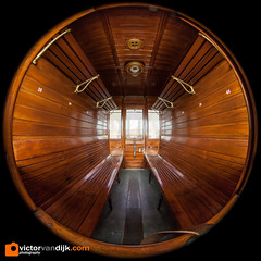 1900's train coupe. (Victor van Dijk (Thanks for 3.8M views!)) Tags: circular fisheye 8mm 815 wooden bench interior train trein coupe 1900 style comfort travel fav fave faved favorite wood polished smooth window seats