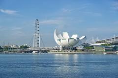 Singapore Flyer ferris wheel and Arts & Sciences museum at Marina Bay in Singapore (UweBKK ( 77 on )) Tags: singapore singapur southeast asia sony alpha 77 dslr slt flyer ferris wheel arts sciences artscience museum marina bay blue sky water