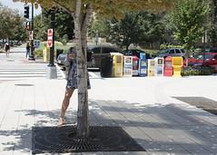 Rooted (Blinkofanaye) Tags: woman street washingtondc mass ave wooden leg shadow tree blonde skirt sidewalk newspaper boxes