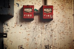 Fire, fire. (#blindowlunderground) Tags: decay white red haunted beauty artisticphotography photography grunge vacancy vacant abandonment abandoned urbanexploration urbex firefighters 911 firealarm fireescape