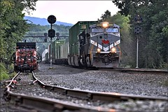 Twenty-Q (Images by A.J.) Tags: train railroad railway rail pa pennsylvania ns norfolk southern signal pl position light prr ge gevo es44ac monongahela heritage mga stack intermodal container pittsburgh torrance control point cp pack maintenance way mow siding derail