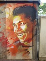 C215 : Mohamed Ali / Cassius Clay (aot 2016) (Archi & Philou) Tags: mohamedali cassiusclay boxe boxeur c215 pochoir stencil vincennes streetart festival america portrait