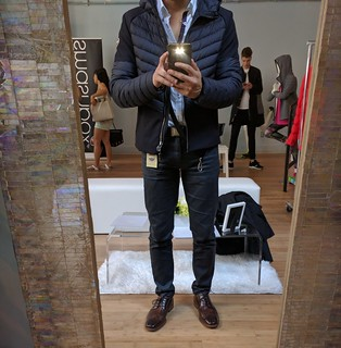 Wearing Colmar Originals fall winter jacket at EGPR Essentials Lounge