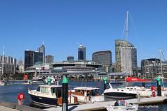 Docklands - Melbourne Victoria Australia (WanderingPhotosPJB) Tags: img australia victoria melbourne docklands boats harbour etihadstadium skyline