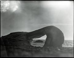 beach bullseye (Garrett Meyers) Tags: garrettmeyers garrett meyers film filmphotographer filmshooter blackandwhite ilford ilfordfilm oregon ocean waves overcast mist fog largeformat lf 4x5