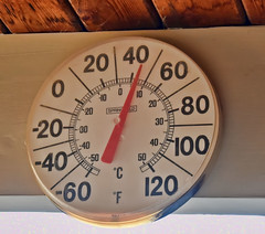 And So It Begins!  268/366 (Jo Zimny Photos) Tags: theflickrlounge temperature scale eave outside backyard numbers letters dial red black white thermometer 366the2016edition 3662016 day268366 24sep16