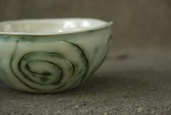 small pordelain bowl with copper oxide swirls (karenchristine552) Tags: utata:project=goarts ceramics clay pottery universitycity utata:entry=4 westphiladelphia