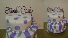 Purple, white and silver Topsy turvy (Sinfully Delicious1) Tags: wedding white silver purple stripes spots topsyturvy