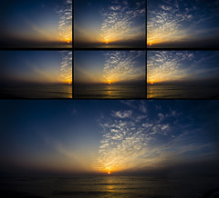 Sunrise panoramic - Before & After (Hayn0r) Tags: ocean uk sunset sea england sky panorama clouds sunrise canon eos kent before panoramic dungeness after 365 beforeandafter beforeafter day147 600d 365days