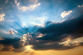 Sun's rays through the clouds   Southern skies of Italy