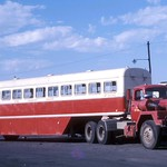 South African Railways SAS MT 18932 International prime mover and passenger bus trailer MT 32080 at East London, South Africa. thumbnail