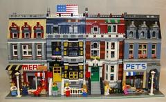 10218 Modular Way (notenoughbricks) Tags: lego townhall firebrigade greengrocer grandemporium legocity cafecorner legomoc legomodulars legopetshop