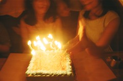 Spiral Candles (MaskedPanda) Tags: birthday film cake 35mm la lomo lomography candles sardina fujifilm domino toycam