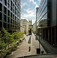 Wood Street from Barbican High Walk (louisberk) Tags: city summer england london tower church sunshine buildings workers cityscape hasselblad elevation newbuilding offices regeneration ec2 swc woodstreet kodakportra160 gupr stalbanchurchtower