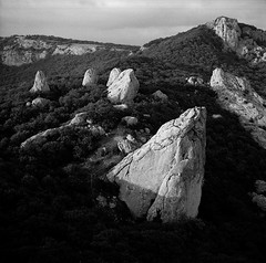 Ilyas-Kaya Mountain. View on Tyshlar Rocks (Temple of the Sun) (Andrey Timofeev) Tags: trees sky blackandwhite sun mountains texture 6x6 nature monochrome grass clouds landscape rocks view path stones iso400 horizon trail ilfordhp5 crimea templeofthesun rockformation               zeissikonnettar51816 214x214  microphen11  novaranastigmat145f75mm may2012  c