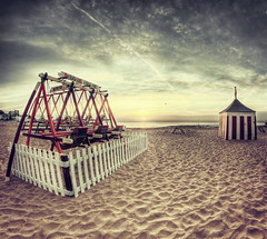 Vintage Swings (JennTurner) Tags: color beach sunrise canon vintage bay town kent seaside sand swings fisheye coastal pro but viking hdr broadstairs 65mm photomatix opteka tonemapped efex 60d