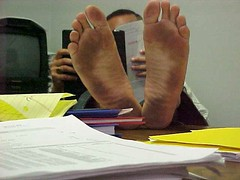 Barefoot office 3 (nwdcguy1) Tags: feet barefoot soles dirtyfeet filthyfeet
