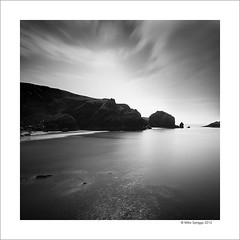 Mullion Cove, Cornwall. (Mike. Spriggs) Tags: ocean longexposure sea bw beach coast cornwall cove cliffs mullioncove