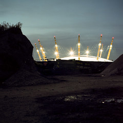 Arena (kenny ip) Tags: longexposure urban london 120 6x6 film night mediumformat industrial greenwich hasselblad scifi fujifilm carlzeiss 501cm 160s 80mmf28 planart 160ns pro160ns kennyip