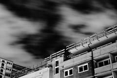 Space (Nicolas Pavlidis) Tags: longexposure windows sky bw building weather night concrete wind nacht fenster himmel gebude wetter beton langzeitbelichtung blackwhitephotos