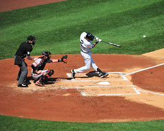 Derek Jeter (flickrfanmk2007) Tags: new york 2 ny sports hit nikon baseball action stadium derek yankee yankees jeter mlb d300 200mm