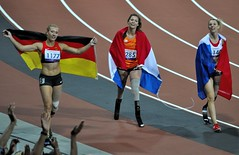 Marlou van Rhijn, Marie-Amelie le Fur and Katrin Green celebrate after the women's 200m T44 at the Paralympics, London, 6th September 2012 (Belhaven2011) Tags: uk greatbritain england men london field bronze silver gold athletics nikon track bladerunner stadium wheelchair peacock elite runners blade olympic athletes olympics athlete runner sprint goldmedal blades weir browne paralympics 100m trackandfield london2012 sprinter javelin pistorius oscarpistorius t44 davidweir 100metres 55300 d5000 eliteathlete richardbrowne 1685mm 55300mm jonniepeacock blakeleeper jeromesingleton runnerjpg athleticsjpg londonjpg alanfontelescardosooliveira arnufourie liuzhiming