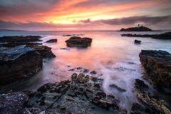 Godrevy, Cornwall (midlander1231) Tags: light sunset sea england sky lighthouse lake seascape colour beach nature water clouds landscape evening coast seaside rocks cornwall waves colours britain shoreline cliffs godrevy hayle