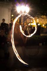 """Crowned Spiral (Herve """"Setaou"""" BRY) Tags: paris france night fire artist ledefrance juggler nuit feu artiste firejuggler jongleur ledelacit firespinner parvisdenotredame jongleurdefeu"""