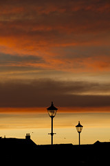 (The New Motive Power) Tags: sky orange black tower lamp silhouette clouds sunrise buildings dawn golden early streetlight warm glow rooftops cathedral vibrant dramatic historic portsmouth oldportsmouth canon7d