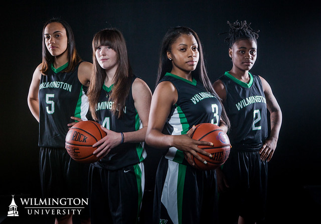 Megan Fox (5), Cari Callaway (4), Lauren Brown (3), and Tenicia Spence (2) lead the Wildcats into their 2012-13 season opener against University of Bridgeport