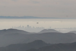 Shuttle Endeavour over San Francisco and the Golden Gate Bridge