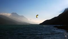 Tramonto in Engadina (Wrinzo) Tags: sunset lake mountains montagne lago switzerland tramonto svizzera engadin engadina foschia kytesurf engiadina silvaplanerse