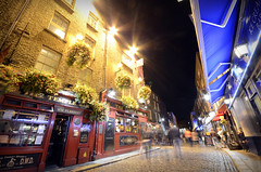 The 'Temple Bar' pub in Temple Bar, Dublin (Dragos Cosmin- Getty Images Artist) Tags: street city longexposure people horizontal architecture night facade pub europe crowd tourist nightlife groupofpeople templebar westerneurope countydublin dublinireland fourpeople citystreet northerneurope urbanscene republicofireland colorimage smallgroupofpeople buildingexterior leinsterprovince