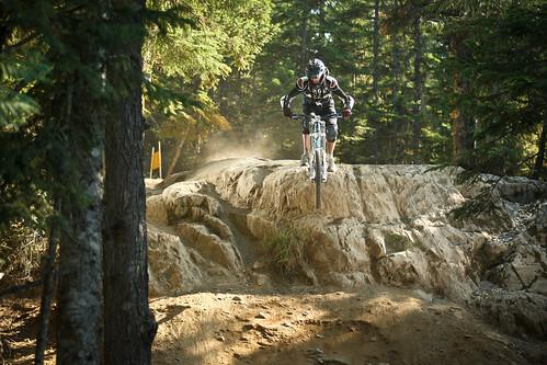 Rock drop on A-Line, Whistler Bike Park