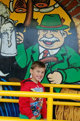 Alistair enters the funhouse at the Acton Fall Fair