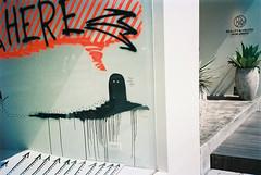 ( ourutopia) Tags: film argenti vividarrow 400 yashica t2 t3 t4 t5 beautyandyouth window graffiti scrawl painting wall expiredfilm