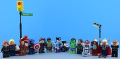Fake Avengers team arrested (Alex THELEGOFAN) Tags: lego fake avengers team arrested second ave bleeker st black widow thor iron minifigures minifigure marvel movie man minifigs minifig minifigurine captain america hawkeye hulk cop officier police legography shield hammer helmet heart gun handcuffs arrow bow