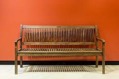 Bench before orange wall (Jan van der Wolf) Tags: map158646v shadow schaduw bank bench wall muur minimalism