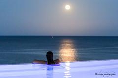 The moon in the pool. (Bouhsina Photography) Tags: lune moon reflet reflection piscine eau mer lumire bouhsina bouhsinaphotogrphy maroc morocco ttouan cabo negro cabonegro canon 7dii t summer 2016 woman