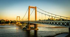 Bridge at St Florent le Vieil (Dom Haughton) Tags: france loire loirevalley panasonic lumix paysdeloire river bridge sunset evening water