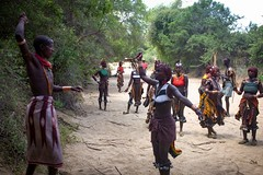 Whipping, Hamar, Ethiopia (Rod Waddington) Tags: africa african afrika afrique ethiopia ethiopian ethnic etiopia ethnicity ethiopie etiopian thiopien omovalley omo hamar tribe traditional tribal hamer bullah bull jumping whipping women maza