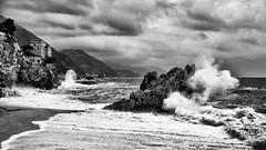Stormy Cinque Terre (Roswitz) Tags: cinque terre clouds storm castle sea black white