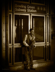 Cool guy playing a Sax (veytrex8345) Tags: sax music people manhattan downtown newyorkcity nyc sepia monochrome streets street panhandle perform