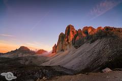 Tre Cime - sunet (Danijel Jovanovic Photography) Tags: trecime italia italy dreizinnen dolomites dolomiten dolomiti alto adige cortina alps alpen mountains mountain hiking sunset sony alpha 7rii landscape southtyrol